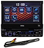 Package: Boss BV9967B In-Dash 7' Touchscreen TFT-LCD Car Flip-Up Monitor with Bluetooth, Front Mini-USB and 3.5mm Aux Input + Rockville RBC5B Black Rearview Backup License Plate Bar Camera With Adjustable 170 Degree Wide Angle Lens