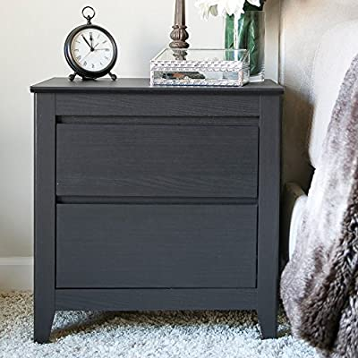 Baxton Studio Carolina Contemporary 2 Drawer Nightstand - Dark Brown Espresso - Dimensions: 22.83W x 15.75D x 24H inches Quality wood and engineered wood construction Contemporary dark brown espresso finish - nightstands, bedroom-furniture, bedroom - 51AVmttHncL. SS400  -