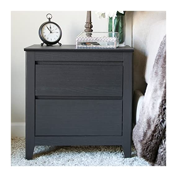 Baxton Studio Carolina Contemporary 2 Drawer Nightstand - Dark Brown Espresso - Dimensions: 22.83W x 15.75D x 24H inches Quality wood and engineered wood construction Contemporary dark brown espresso finish - nightstands, bedroom-furniture, bedroom - 51AVmttHncL. SS570  -
