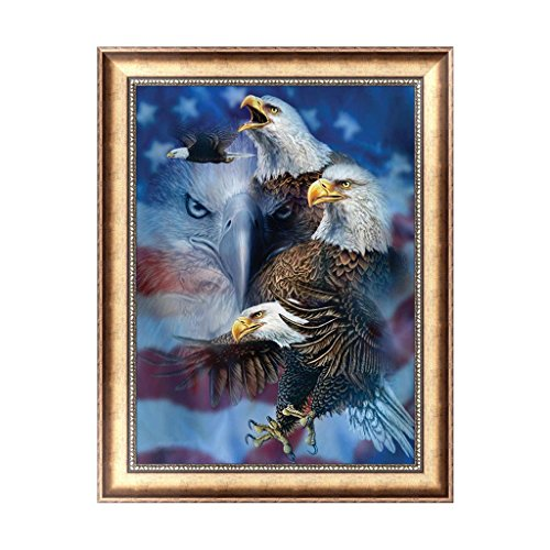 Mingo 5D DIY Diamond Painting Rhinestone Flowers of Crystals Embroidery Kits Arts, Crafts & Sewing Cross Stitch - Eagle and National Flag (Eagle Flag Embroidery)