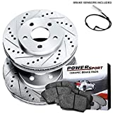 Front Drilled Slotted Rotors Disc and Ceramic Brake Pads 2011-2012 Jaguar XF