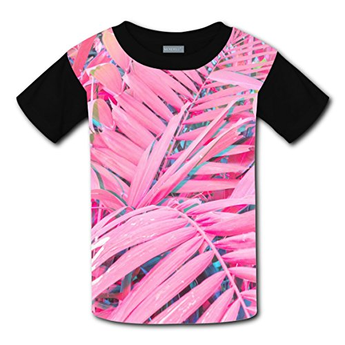 Neon Ninja Child Costumes (Pink Long Leaf Neon T-shirts for Kids Tee Shirt Tops Short Sleeve Costume L)