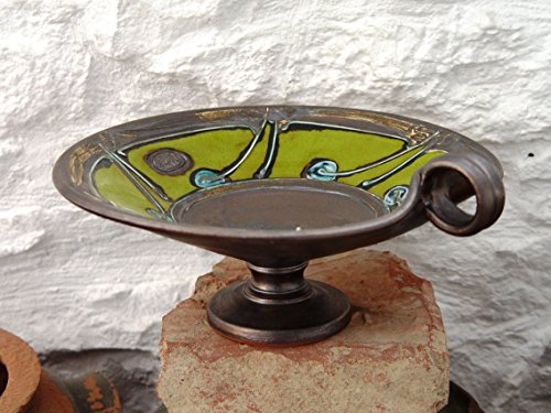 Cheap Wheel Thrown Green Pottery Fruit Bowl, Wedding Gift, Iron Anniversary Gift, Ceramic bowl, Serving tray. Pottery Centerpiece Bowl, Danko