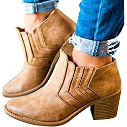 Younsuer fall winter chunky low heel Round toe side buckle ankle booties boots (US 7.5, brown 1)