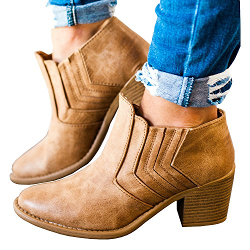Heel Side Booties 1 Boots Chunky Ankle Low Round Younsuer Toe Women's Fall Brown Buckle Winter Xw6fqT