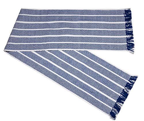 HomweLinen Table Runner, 100% Cotton Woven Fringed, Retro Zig Pattern, Table Runner - 14x72 Inch, Blue/White -