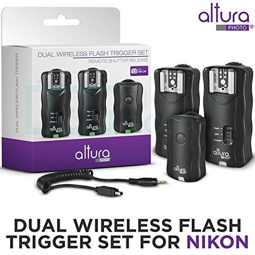 (2 Trigger Pack) Altura Photo Wireless Flash Trigger for NIKON w/Remote Shutter Release (NIKON DF D3200 D3100 D3300 D3400 D5100 D5200 D5300 D5600 D7100 D7500 D850 D610 D750 D500 D5 DSLR Cameras)