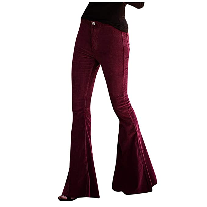 Mujer Pantalones Fiesta Invierno Elásticos Informal Vino ...