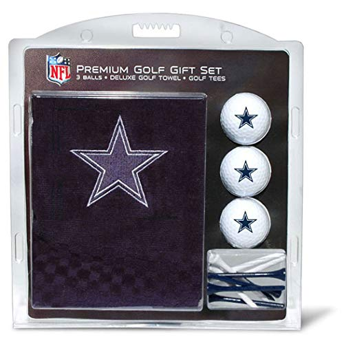 Team Golf NFL Dallas Cowboys Gift Set Embroidered Golf Towel, 3 Golf Balls, and 14 Golf Tees 2-3/4 Regulation, Tri-Fold Towel 16 x 22 & 100% Cotton
