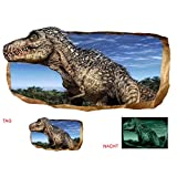 Startonight 3D Mural Wall Art Photo Decor Jurassic Dinosaur World I Amazing Dual View Surprise Large 47.24 Inch By 86.61 Inch Wall Mural Wallpaper for Bedroom Kids Collection Wall Art (Gray Blue)