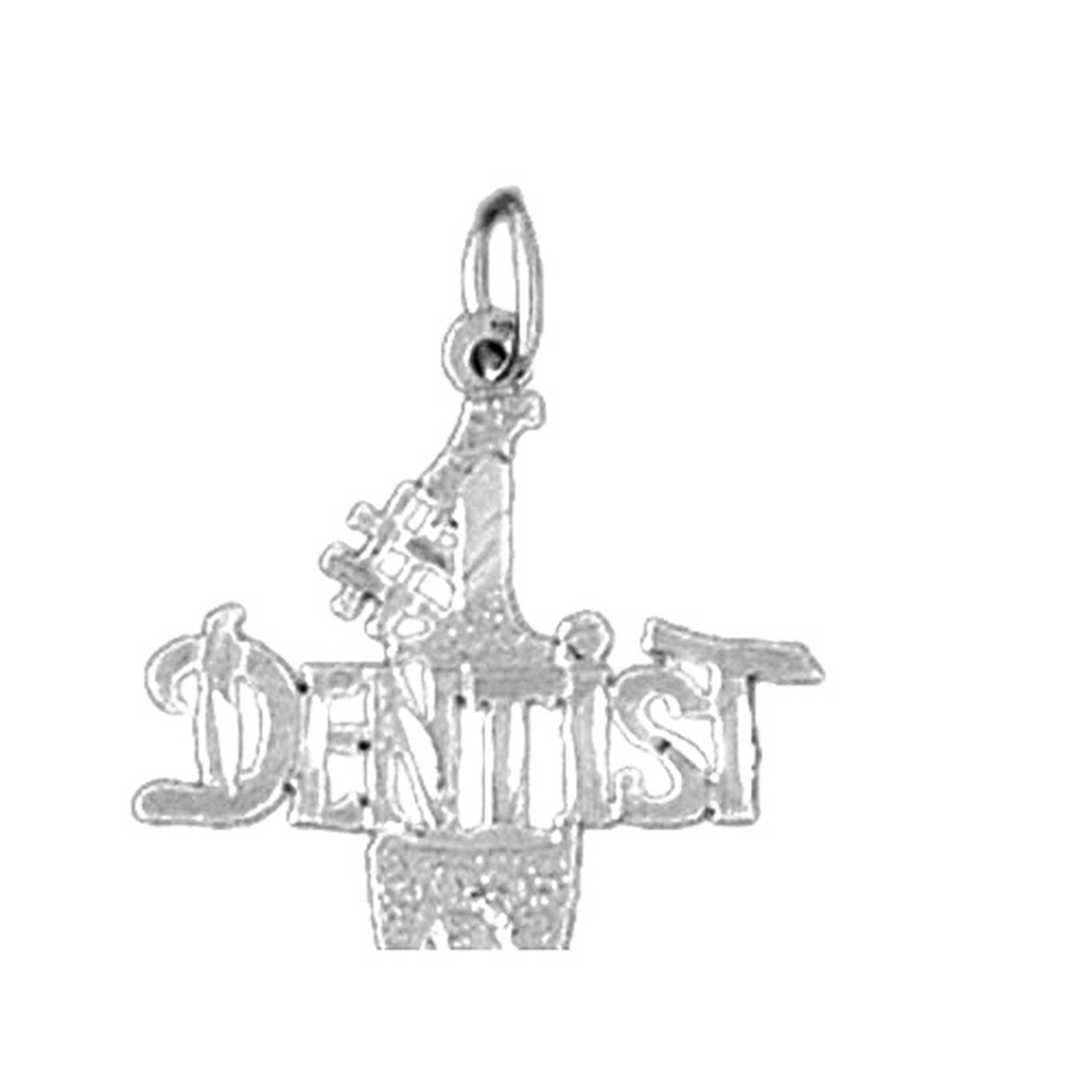 Rhodium-plated 925 Silver I Love My Dentist Pendant with 16 Necklace Jewels Obsession I Love My Dentist Necklace