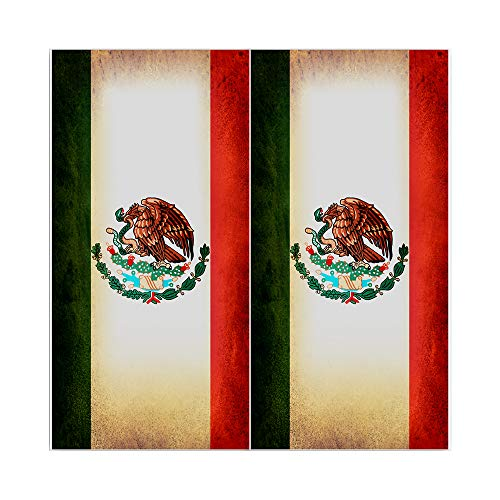 Decals N Designs Rustic Mexican Mexico Red White Green Eagle Laminated Country Cornhole Board Wraps ~ Set of -