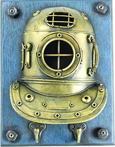 Antiqued Gold Tin Diving Helmet Nautical Double Hook 10 Inch Wall Decor (Nautical Diving Helmet)