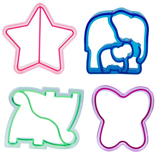 Sandwich Cutters - 4 pk - Fun Bread Cutters with Cute Designs - Heart, Star, Dino, Elephant
