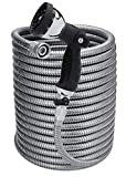Morvat 100 Foot Stainless Steel Garden Hose with Shut-Off Valve | Heavy Duty Metal | Resistant to Knots, Tangles and Punctures | Includes: 10-Way Spray Nozzle + Heavy-Duty Metal Hose Hanger