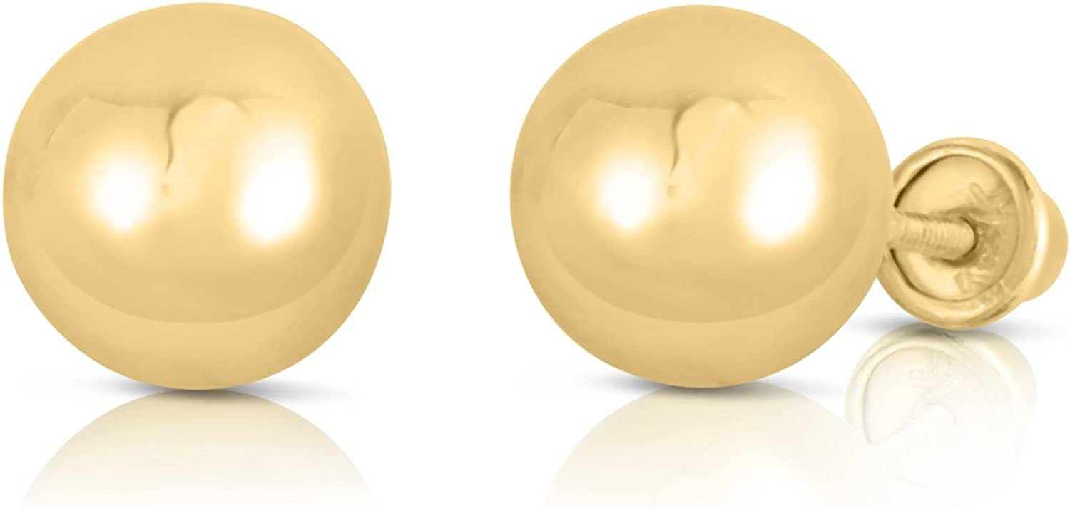 14k Yellow Gold Ball Stud Earrings with Secure Screw-backs
