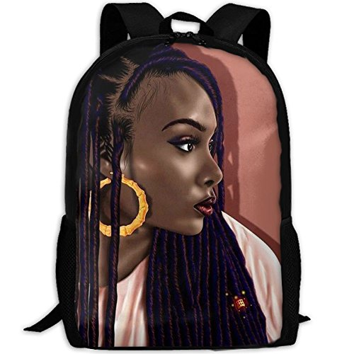 YesFutureIs Female Travel Backpack African American Black Woman Girl Art Bag For Adult Lightweight College Bookbag (Canvas Art Discount)