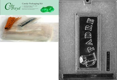 Cybrtrayd Padre Greeting Card in Spanish Chocolate Mold with Packaging Bundle of 50 Cello Bags, 25 Gold and 25 Silver Twist Ties and Chocolate Molding Instructions
