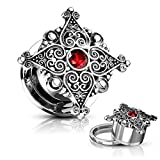 Pair of Filigree Hearts Red Accent Center Top Ear Plugs Tunnels Screw-Fit Gauges Steel/Brass (0G (8mm))