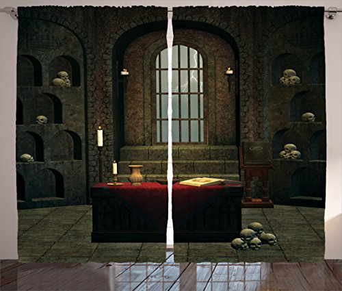 Gothic House Decor Curtains by Ambesonne, Fantasy Theme Spell Casting Warlock Witch Skulls on Shelves Candles Spooky, Window Drapes 2 Panel Set for Living Room Bedroom, 108 W X 84 L Inches, Red Brown (Casting Master Ocean)