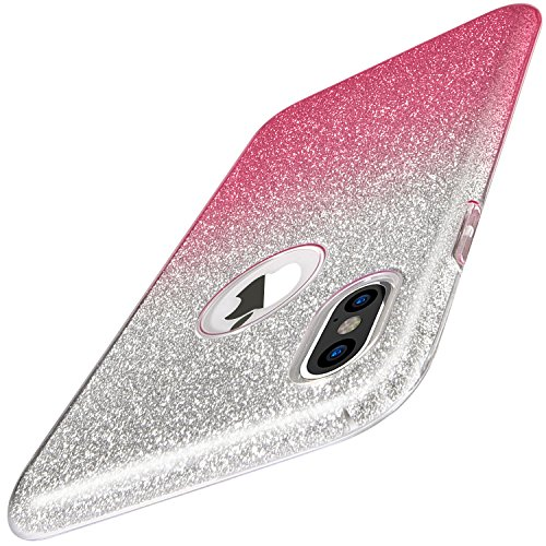 iPhone X Case, TOZO SHINY [Bling Crystal] Thin Glitter Sparkle [Support Wireless Charging] Premium Three Layer Hybrid TPU Soft Grip Cover Shell for Apple 5.8 In iPhone X/iPhone 10 - Gradient Pink