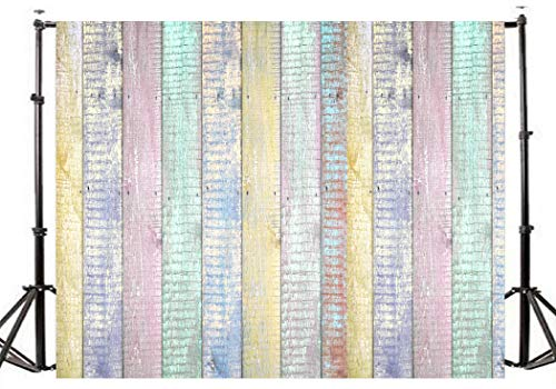 Kszut 7x5ft Multicolor Wood Backdrop for Photography Easter Photo Background Baby Show Birthday Party Photo Booth Prop- 1890