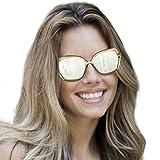 Polarized Oversized Vintage Sunglasses 100% UV Protection Square Ultralight Frame(Silver Mirrored Lens))