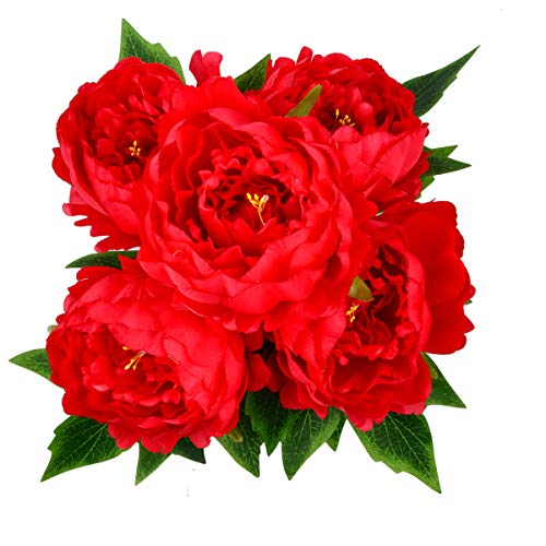 HoveBeaty Artificial Peony Silk Flowers Bouquet Home Wedding Decoration (Bright - Red Flowers Bright
