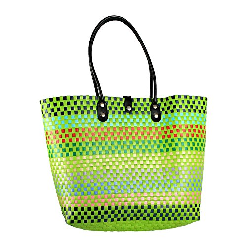 Plastic woven bag, handmade woven beach Tote, made from Recycled Material, Handwoven plastic shoulder bag- Style - Newport Stores Beach