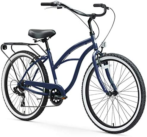 "sixthreezero Around The Block Women's 7-Speed Beach Cruiser Bicycle, 26"" Wheels, Navy Blue with Black Seat and Grips"