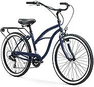 "sixthreezero Around The Block Women's 7-Speed Beach Cruiser Bicycle, 26"" Wheels, Navy Blue with Black"