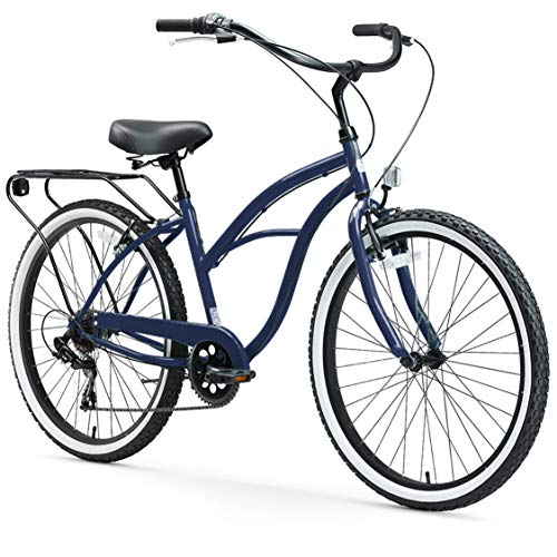 sixthreezero Around The Block Women's Cruiser Bike with Rear Rack, 26 Inches, 7-Speed, Navy