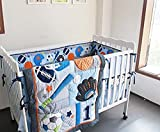 F.C.L 8 Pieces Baby Boy Sport Crib Bedding Set (Blue): (1)quilt,(4)bumper pads,(1) fitted sheet,(1) dust ruffle(skirt),(1) fleece blanket