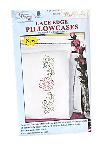 Jack Dempsey Pillowcase Lace - Jack Dempsey 1800-553 Stamped Pillowcases with Lace Edge (2 Pack), Daisy, White