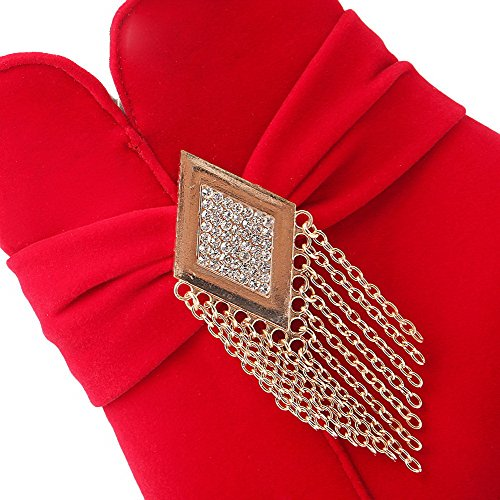 AllhqFashion Mujeres Puntera Redonda Tacón ancho Sólido Cremallera Botas con Metal Rojo