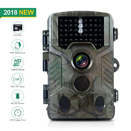 FLAGPOWER Hunting Trail Camera, 16MP 1080P 0.2s Trigger Time Wildlife Game Camera with 2.4'' LCD 850nm Upgrading IR LEDs Night Vision up to 75ft/2.3m IP56 Spray Water Protected Design by FLAGPOWER