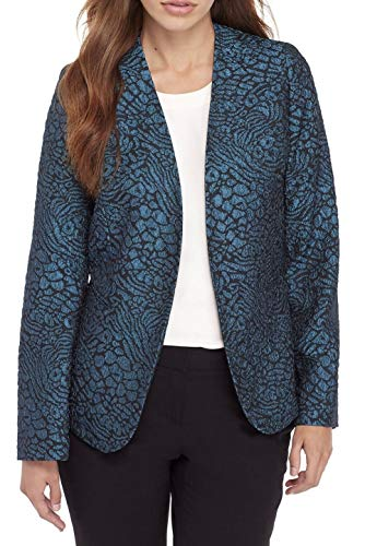 (Kasper Women's Metallic Jacquard Animal Print Jacket (Mallard/Black, 6) )