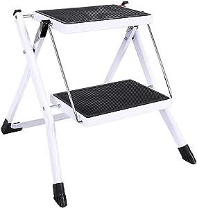 Yusea - Escalera pequeña para cocina, resistente taburete plegable de 2 peldaños para adultos con pedal ancho antideslizante: Amazon.es: Hogar