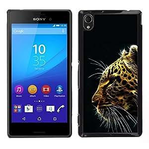 // PHONE CASE GIFT // Duro Estuche protector PC Cáscara Plástico Carcasa Funda Hard Protective Case for Sony Xperia M4 Aqua / Patrón Glow Leopard /