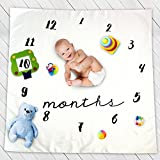 JoyPandas Baby Milestone Blanket with Frames | Perfect for Photo Shoot, Backdrop and Baby Shower - Includes Frames for Boy and Girl Plus Unisex Wreath