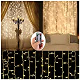 Battery Operated Curtain String Lights,300 LED Icicle Window Background Fairy Lights [Remote,8 Mode,Timer,9.8 ft ×9.8 ft, Dimmable,] Decoration Lights for Outdoor Wedding,Camping,RV,BBQ Party