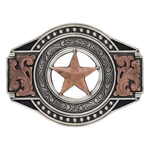 Montana Silversmiths Men's Two Tone Open Texas Ranger Star Attitude Buckle Silver One (Texas Buckle)