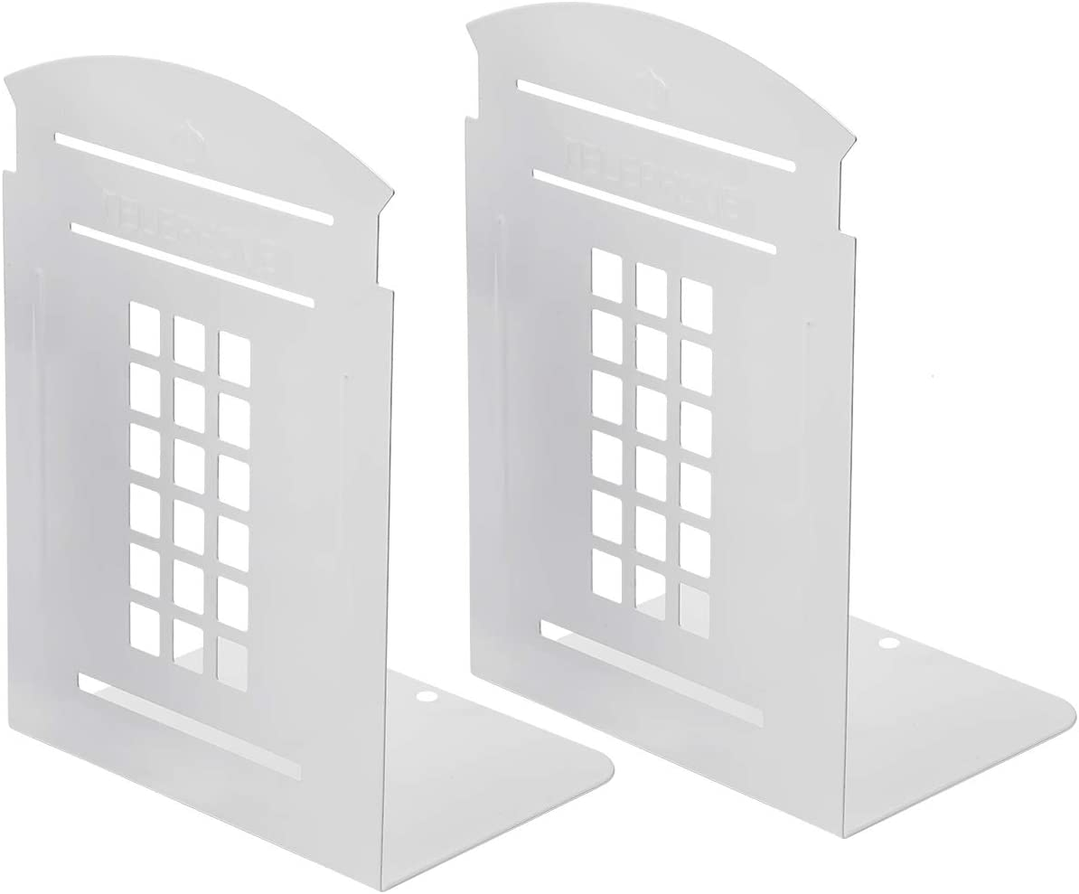 MerryNine Bookends Pair Nonskid Heavy Metal Durable Sturdy Strong Books Organizer Telephone Booth Bookshelf Decor Decorative Bedroom Library Office School Supplies Stationery Gift (White_1 Pair)