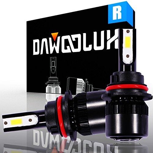 DawooLux 9007/HB5 LED Headlight Bulbs Conversion Kit Flip COB Chips/Internal Driver-Dual All-in-one High/Low Beam Extremely Bright 6500K Cool White 6400 Lumens 60W, 2-Years Warranty