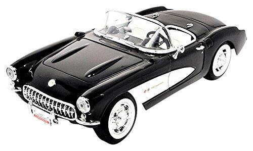 Chevrolet Corvette, bianco nero, 1957, modello di automobile, modello prefabbricato, Lucky la Cast 1 18 Modello esclusivamente Da Collezione