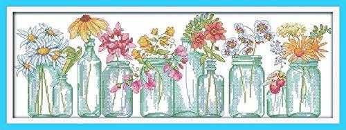 Joy Sunday Cross Stitch Kit 14CT Stamped Embroidery Kits Precise Printed Needlework- The flower vases 52×20CM Joy Sunday DIY Hancraft Inc H489