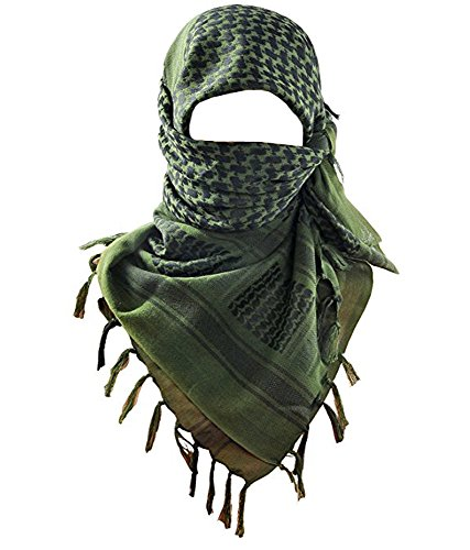 MAGNIVIT 100% Cotton Keffiyeh Tactical Desert Scarf Wrap Shemagh Head Neck Arab Scarf Army ()