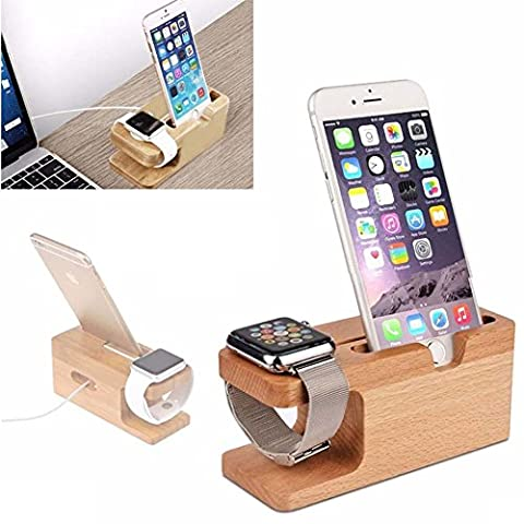 Hot Charger Holders Stand Charging Dock Bamboo For Apple Watch iPhone 6S Plus (Dock Plus For Iphone 6)