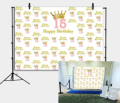 BoTong 7x5ft Sweet 15 Birthday Party Backdrop Glitter Gold Crown Princess Girl 15th Birthday Photography Background Teenage Birthday Party Banner Vinyl Decoration Cake Table Photo Studio Booth Props ()