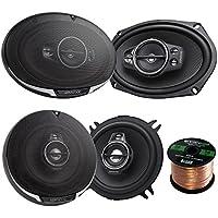 Car Speaker Package Of 2x Kenwood KFC-6995PS 1300-Watt 6x9 Inch 5-Way Performance Series Flush Mount Coaxial Speakers + 2x KFC-1395PS 5 1/4 320-Watt Audio Speaker + Enrock 16g 50 Feet Speaker Wire
